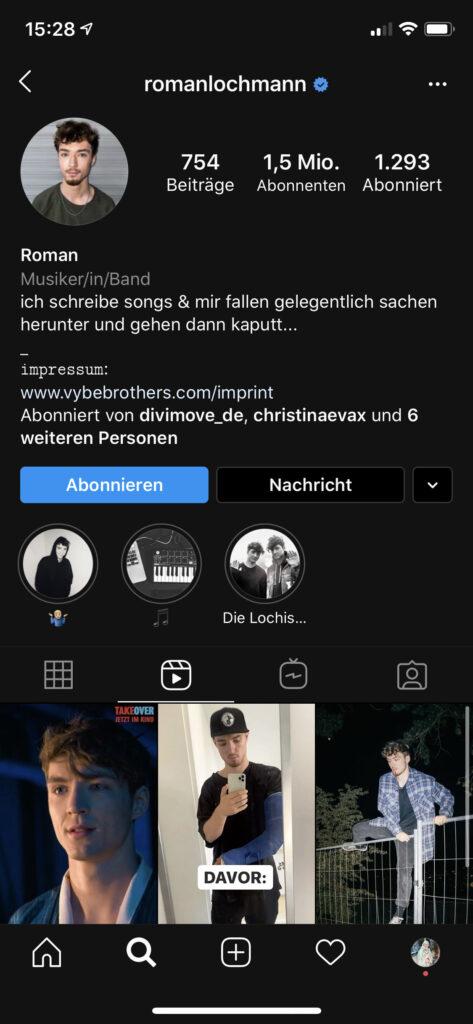Der Instagram Reel-Tab bei @romanlochmann